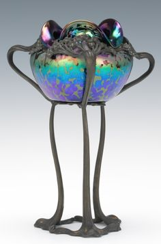"Loetz Art Glass, Oil Spot Bowl In Art Nouveau Stand, 9""H x 6""W 