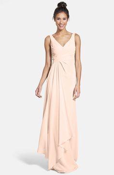 Main Image - Monique Lhuillier Bridesmaids Sleeveless V-Neck Chiffon Gown (Nordstrom Exclusive) (Blush)
