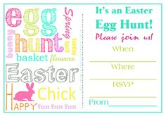 Easter Egg Hunt Invitations Free Printable