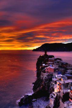 My Italy           - italian-luxury:   Sunset on Cinque Terre, Liguria,...