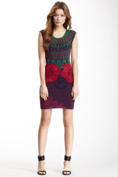 Desigual Dos Floris Printed Shift Dress. Love the shoes too.