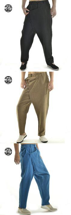 2016 New Fashion Brand men pants Mens Japanese Samurai Style Boho Casual Loose Fit Harem Baggy Hakama Linen Pants disfraces