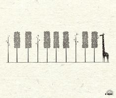 Giraffe piano print - adorable