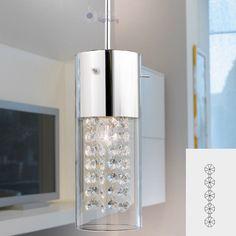 dettagli su lampadario lampada sospensione design moderno acciaio cromo cristallo soggiorno