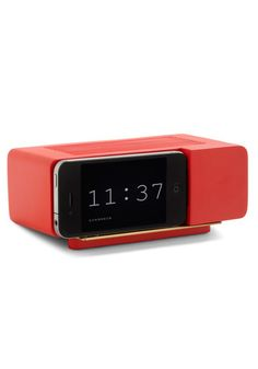 Wake Up Call iPhone Dock in Red via ModCloth Modern Alarm Clock, Digital Alarm Clock, Iphone Docking Station, Technology Gifts, Wake Up Call, Hacks, Candle Set, Dorm Decorations, Cool Gadgets