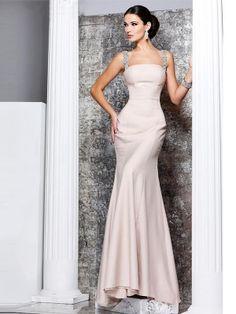 Mermaid-Stil Ärmellos Perlenstickerei Satin Kleider Mit Träger