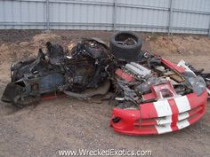 The driver of this 1998 Dodge Viper was pushing 170 MPH when he lost control on a stretch of Arizona highway. After flipping a few times, the car slammed sideways into a pole.  IDIOT!!!