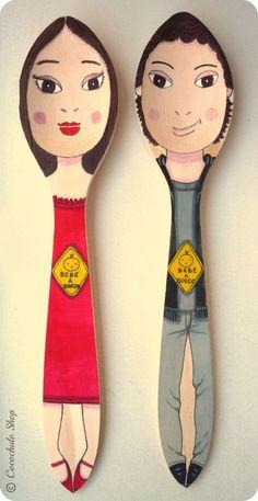 Resultado de imagen de cucharas maderal pintadas manualidades