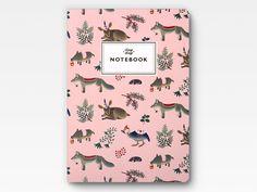 Bosque animales Notebook  rosa por clapclapdesign en Etsy, $16.00
