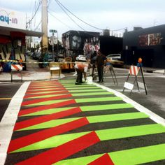 Wynwood Crosswalk By Carlos Cruz-Diez Banksy Artwork, Installation Street Art, Road Painting, Pedestrian Crossing, Paving Pattern, Pavement Art, School Murals, Walking Street, Sidewalk Art