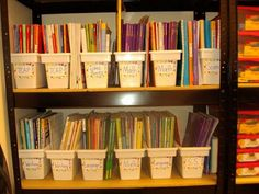 Storing my teaching books... found at walmart (ice buckets) for 1.99