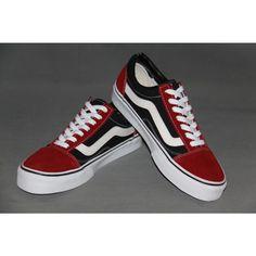 Vans Classic Canvas 2-Tone RED/BLACK With White Curve Shoes Cheap Van, Vans Skate, Van For Sale, Shoes Outlet, Vans Classic, Vans Shoes, Red Black, Canvas, Sneakers