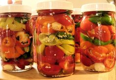 Refrigerator Pickled Peppers in a jar...without canning.