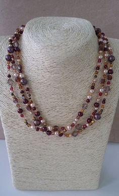 Autumn Bronze and Gold Beaded Multi-strand necklace
