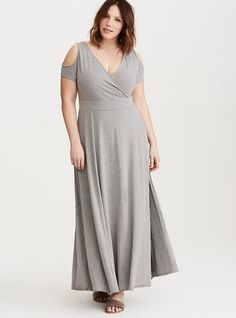 Jersey Cold Shoulder Surplice Plus Size Maxi Dress, HEATHER GREY