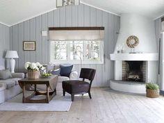 Living Room Design Ideas for 2019 Home Living Room, Living Area, Living Room Designs, Tv Decor, Room Decor, Rental Makeover, Building A Cabin, Cottage Design, Blue Walls