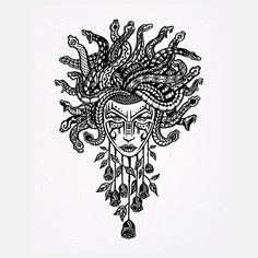 Medusa art, white, black