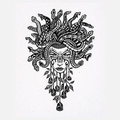 Medusa art, white, black