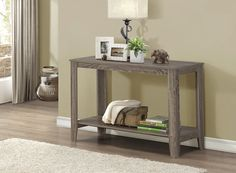 Dark Taupe Reclaimed-Look Sofa Console Table - Monarch Specialties your living space with this contemporary rectangular shape sofa console table. Fabricated in an alluring dark taupe reclaimed, wood-look finish and featuring a lower shelve Diy Sofa Table, Sofa End Tables, Table Furniture, Living Room Furniture, Home Furniture, Furniture Stores, Apartment Furniture, Furniture Outlet, Online Furniture