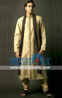 Style DRM1182, Product code: DRM1182, by www.dressrepublic.com - Keywords: Indian Mens Fashion in 2013, Mens Fashion Kurta Salwar Kameez on Mehndi Mayoon