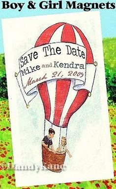 QTY 50 Save The Date Magnets and Envelopes Boy and Girl 50s Retro Theme Wedding Invitations. $49.99, via Etsy.