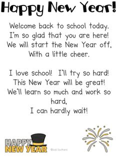 Happy New Year Poem and other cute ideas. May use this when the kids walk into class on the third