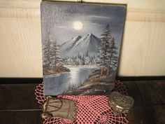 Mountain and River Night Time  Scene with by Daysgonebytreasures, $28.00