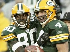 My two favorite players! Green Bay Packers\' Brett Favre and Donald Driver celebrate after Driver caught a touchdown pass in the third quarter against the Dallas Cowboys Sunday, Oct. in Green Bay, Wis. Packers Funny, Go Packers, Packers Football, Best Football Team, Football Boys, National Football League, Football Helmets, Football Season, Nfl Green Bay