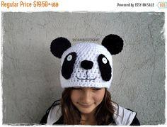 HEIIO SUMMER Crochet panda hat, Crochet bear hat, Panda hat, Baby panda hat, Animal hat, Kids hat, Newborn photo prop, black and white hat,