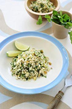 "Recept ""Couscous van bloemkool"" | njam! Quinoa Tabouleh, Pulled Chicken, Couscous, Risotto, Foodies, Side Dishes, Bbq, Vegan Recipes, Veggies"