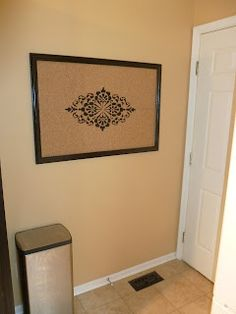 Our Pinteresting Family: Stenciled Bulletin Board with Cork Tiles