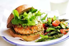 Pesto Salmon Burgers with Tomato and Asparagus Salad