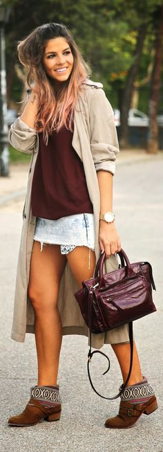Beautiful Fall Style - Trench, blouse, bag and booties by TrendyTaste