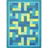 Found it at Wayfair - Kid Essentials Off Beat Blue/Yellow Area Rug ~$275 for 5x8