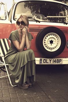 VW T2 van girl in green dress my love saying /really were is my benz!!