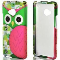 Hot Pink and Green Owl Rubberized HTC One Cell Phone Hard Case