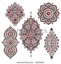 Set of Beautiful Indian ethnic ornaments. Folk Henna tattoo style.
