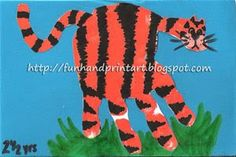 Handprint and Footprint Arts & Crafts: Handprint Tiger