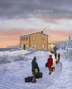 Beautiful Newfoundland artwork captured by artist Odell Archibald Newfoundland Canada, Newfoundland And Labrador, Pretty Pictures, Pretty Pics, Cute House, Winter Art, Canadian Artists, Christmas Images, Canada Travel