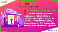 Does your company run surveys for customers? or Do you have a larger amount of customer reviews data? Our EM AI Platform analyses the text fields in surveys & reviews by using NLP and generate reports. Improve the customer satisfaction with EM AI Platform now.   #EMAIPlatform #artificialintelligence #machinelearning #automation #deeplearning #surveys #reviews #technology #products #istanbul #sanfrancisco #newyork #london Sentiment Analysis, Natural Language, Deep Learning, Data Science, Machine Learning, Ems, Fields, Istanbul, Larger