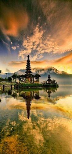 Sunrise, Tabanan Temple, Bali, Indonesia ~~I Komang Warta Windu~~ Lake Bratan Places Around The World, Travel Around The World, Around The Worlds, Places To Travel, Places To See, Wonderful Places, Beautiful Places, Amazing Places, Voyage Bali