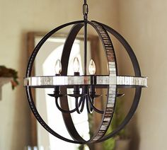 Dumont Mirrored Chandelier by #PotteryBarn (Cultivate.com)