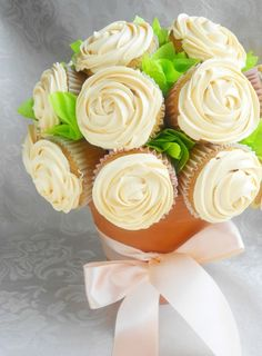 A super sweet cupcake bouquet -- maybe not for carrying down the aisle, but it