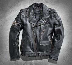 Chaqueta de piel para motociclista estilo clásico