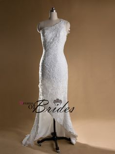 Simple Lace Back Designer Short Wedding Dress DOB193