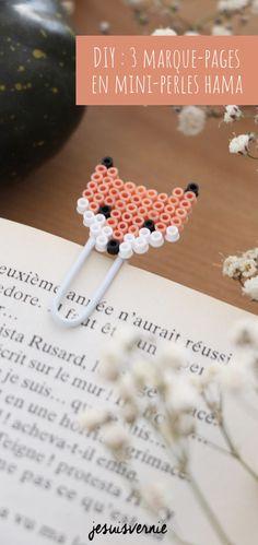 DIY : des marque-pages en mini-perles HAMA - Outdoor Kitchen Bars Easy Perler Bead Patterns, Perler Bead Templates, Diy Perler Beads, Perler Bead Art, Hama Beads Disney, Hama Mini, Mini Hama Beads, Diy Cadeau Maitresse, Hamma Beads Ideas