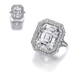 CARTIER Property of Mrs.Weyerhaeuser, thence descent to the present owner A diamond ring, Cartier centering a cut-cornered rectangular step-cut diamond, weighing 8.45 carats, within a pierced and openwork pavé-set diamond surround, gallery and shoulders and shank; signed Cartier, New York;