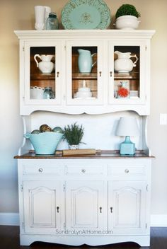 Chalk Painted Hutch --- Sondra Lyn at Home-w #KitchenHutches