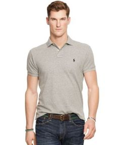 Men\u0027S Slim-Fit Cotton Mesh Polo Shirt, Heather Grey. Polo Ralph LaurenMan  ...