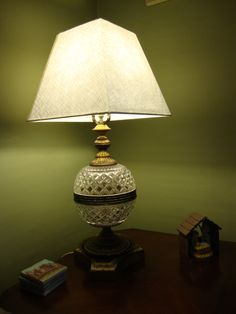 Antique crystal globe lamp, old glass lamp depression glass lamp, table lamp 1920's home decor. $165.00, via Etsy.
